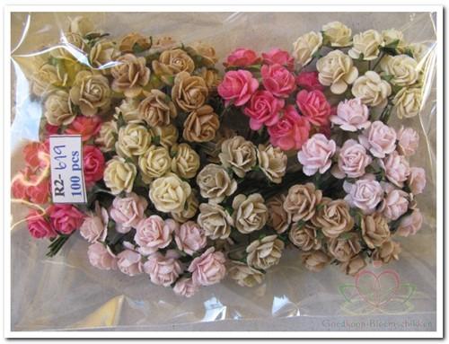 Mulberry Roosjes Roze-Taupe mixed10-15 mm / PAK Mulberry Roosje
