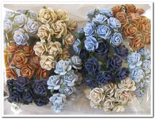 Mulberry Roosjes Blue + Natural mixed 1cm. / PAK Mulberry Roosje