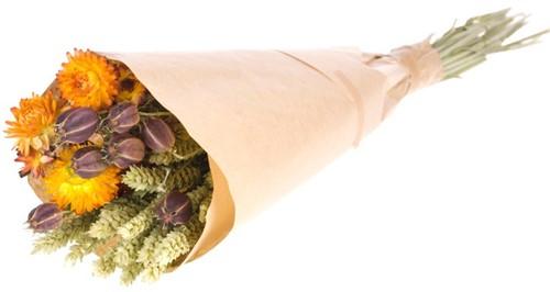 Droogbloemenboeket Natural - Orange tritic/nigella/helichrisum Droogbloemenpakket in kraft