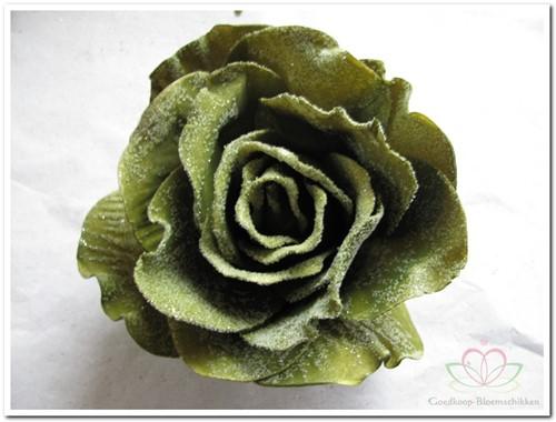 foam Rose Sophie 15cm. snow Smaragd Green Doos12 voordeelpak