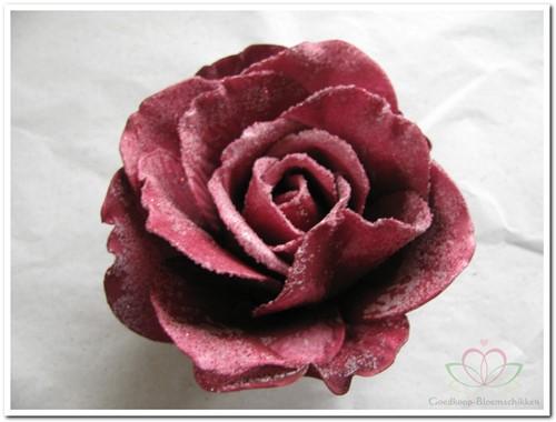 foam Rose Sophie 15cm. snow Burgundy Doos12 voordeelpak