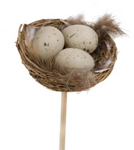 Bijsteker Kort 12 cm. Met Nestje 5*8 cm. Met 3 eitjes / pak24 Nestje 5 cm. Met