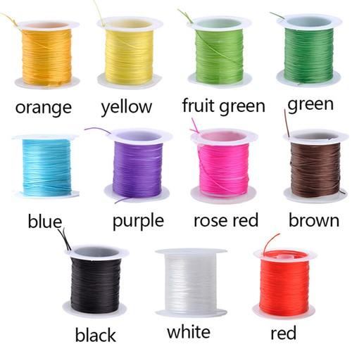 Elastisch Gekleurd Nylon voor O. a. sieraden rol 10m - oranje Elastisch nylon