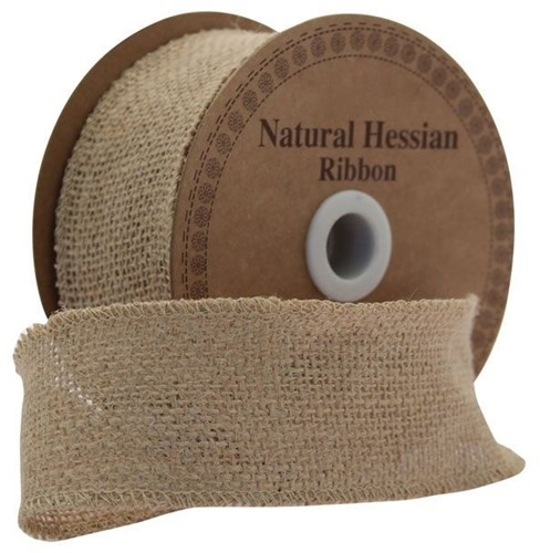 Juteband BURLAP Hessian dicht Naturel 5 cm. +/- 10 yard Juteband +/- 5cm.