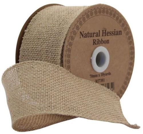 Juteband BURLAP Hessian dicht Naturel 7 cm. +/- 10 yard Juteband +/- 7cm.