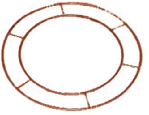 Metalen frame, WIRE RINGS 16 INCH OPEN! Metalen frame, koperkleur